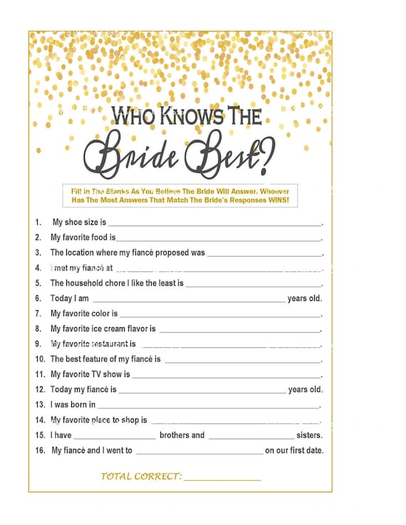 photograph relating to How Well Do You Know the Bride Printable titled Gold Confetti How Properly Do By yourself Comprehend Bride, Gold Confetti Bridal Recreation, Gold Confetti Shower, Bride Sport, Gold Bridal Video game - Printables 4 Considerably less