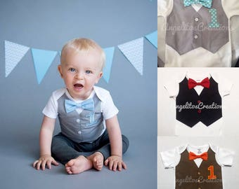 Baby Boy Grey Vest Onesie First Birthday Bow Tie And 1st Cake Smash Outfit Personalized Embroidered Bodysuit Baptism Wedding