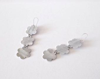 White ceramic earrings handmade jewelry ceramic earrings summer jewelry urban style earrings summer earrings white dangle earrings