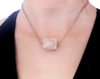 Light Pink Freeform Faceted Opal Crystal Pendant - Choker - Chain Neckace - Minimalist - Graphic - Urban - Everyday Essentials - All Ages