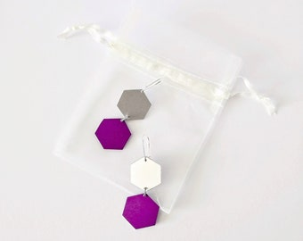 Hexagon Shape Dangle Drop Earrings - Geometric Graphic Minimalist Modernist - Recycled Aluminum - Silver - Purple - 80s Vibe - Party Time