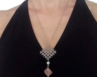 Grid Pendant on Chain Neckace - Rose Quartz Cube, Faceted Tourmaline, Mother of Pearl, Silver - Modernist - Minimalist - Geometric - Urban