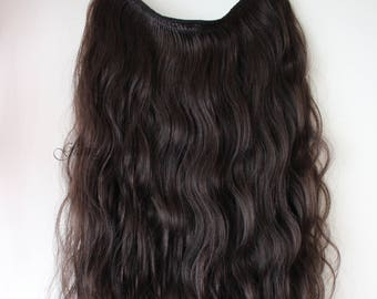 "22"" HALO-Miracle- wire Body wave 100% remy human hair extension 200G / Colour 2 Dark brown."