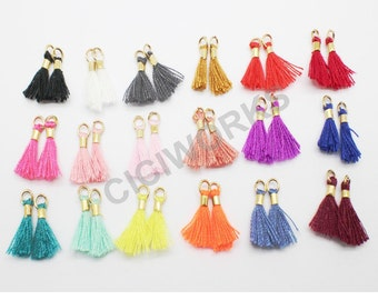 Wholesale 200pcs/lot 13mm(1/2'') Mini Tassels Tiny Short Cotton Thread Tassels GD20ST138