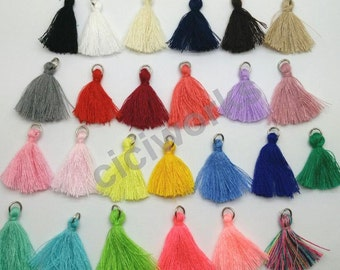 U Pick 25pcs/lot 2.5cm(1'')Mini Tassels Tiny Short Cotton Thread Tassels DIY Craft Supplies Jewelry Tassels Chunky Tassel  GD25ST25