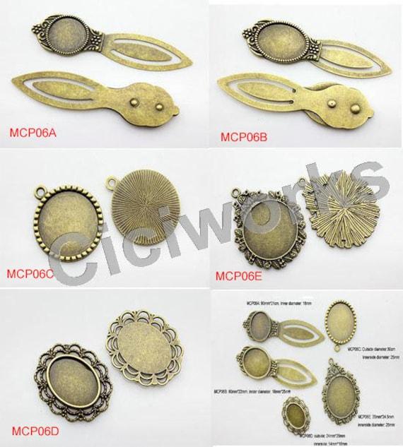 10pcs Antiqued Iron Cameo Bookmark Setting Bezels Bronze Nickel Free DIY Craft