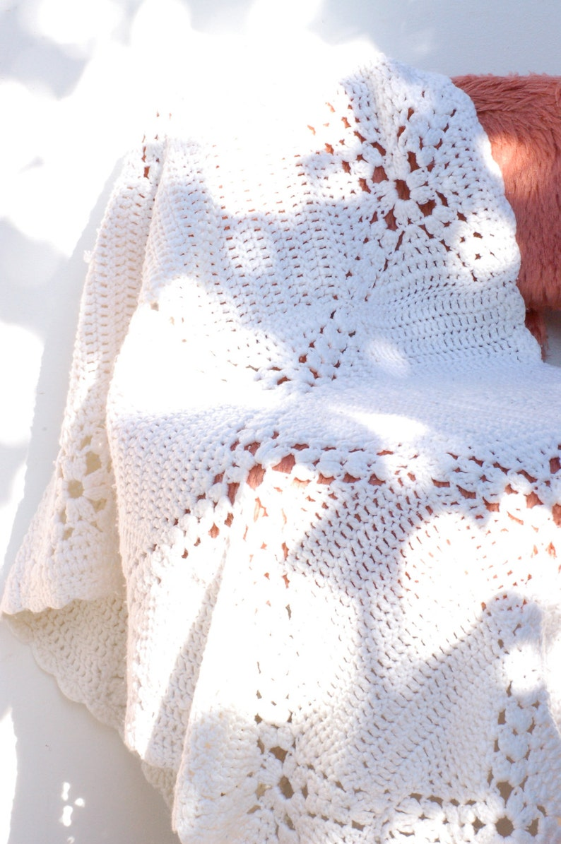 French vintage cover white crochet for baby bed french vintage brocante fran\u00e7aise