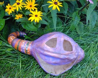 Dried gourd jack o lantern pumpkin Halloween decorations yard art purple polkadot carved painted pumpkin