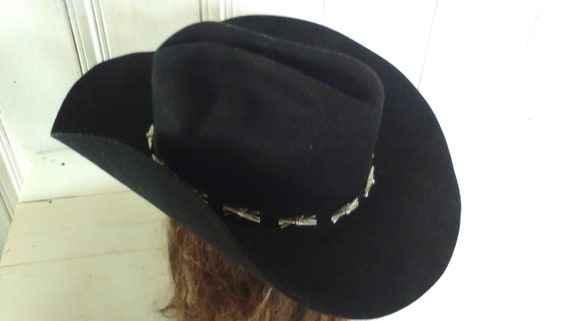 13444828ab0 Black Stetson Cowboy Hat Silver Barbed Wire and Leather