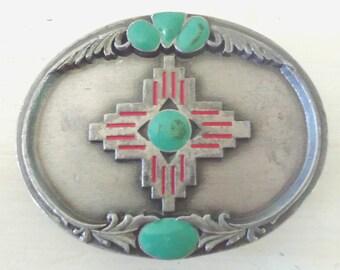 Native American Inspired Cross Belt Buckle/Silver Turquoise Enamel/Sishiyou Buckle Co/1995/Heavy Buckle/Metal/lindafrenchgallery