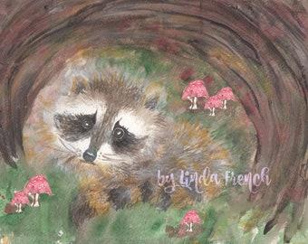 Baby Raccoon Watercolor Painting Download/Digital File/Kid's Room Art/Woodland Animal/Nursery/Print/Baby Animal/Gender Neutral/DIGITAL