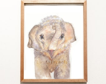 Baby Elephant Watercolor Painting/Instant Download/Kid's Room Art/Nursery Art/Digital File/Poster Print/Commercial Use/