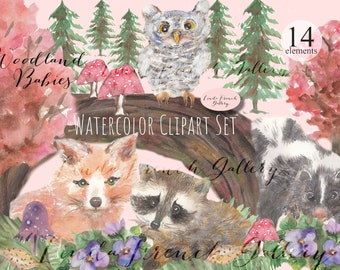 Woodland Babies Watercolor Painting Clipart Set/Baby Fox, Raccoon, Skunk, Owl/Forest Animals Scenery/Wall Hanging/Kid's Room/Commercial Use
