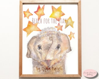 Reach for the Stars Baby Elephant Watercolor Painting/Kid's Room Art Painting Poster Print/Nursery Decor/Instant Download/Inspirational