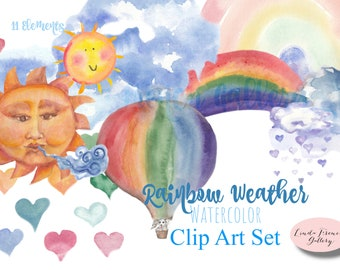Rainbow Weather WATERCOLOR Clip Art Set/Hot Air Balloon/Sun with Face/Rainbow Heart Rain Clipart/Clouds/Puppy/Nursery Decor Wall Art Print