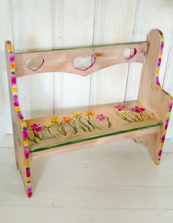 Painted Flowers Childrens Benchwhimsical Furniture Etsy