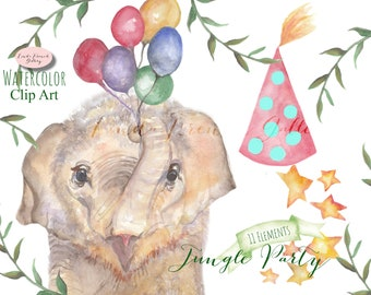 Baby Elephant Party WATERCOLOR Clip Art/Jungle Party/Kid's Birthday/Clipart/Nursery Decor Wall Art/Balloons/Stars/Store Grand Opening
