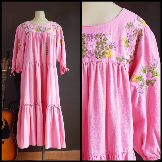 Vintage Pink Embroidered Dress