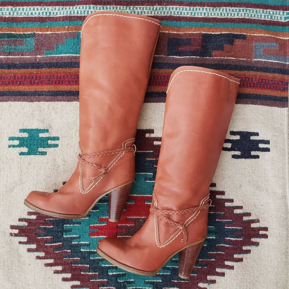 Vintage Zodiac Boots, 70s Knee High Leather Boots,