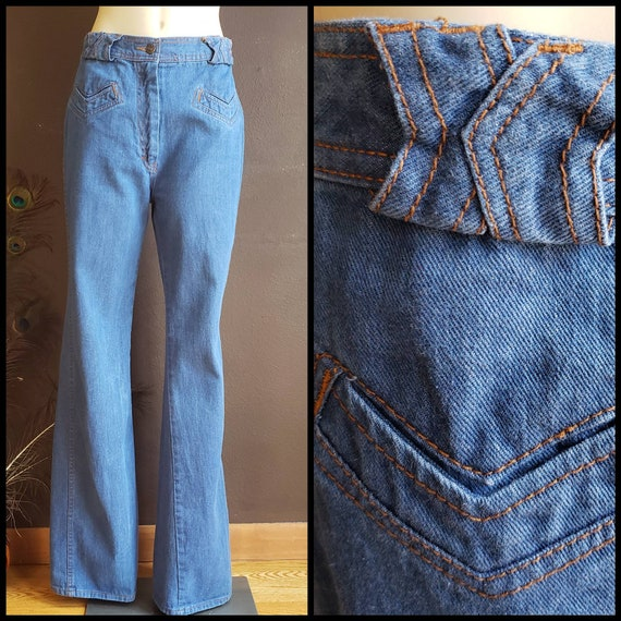 Vintage Womens Wide Leg Blue Jeans, 1970s Relaxed