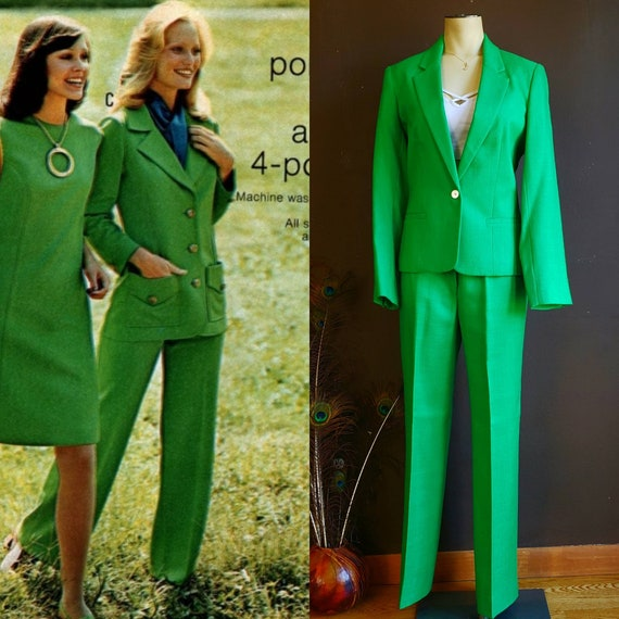 Vintage 70s Kelly Green Pantsuit and Skirt Suit