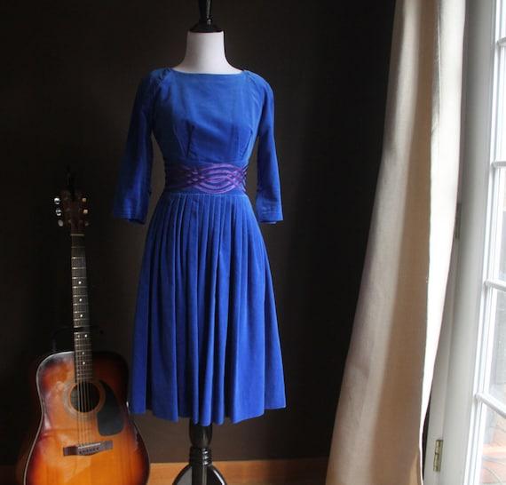 Vintage womens dress, 1950s Blue Velvet Dress, Ple