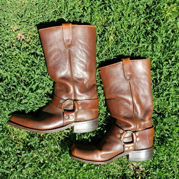 Vintage Brown Leather Harness Boot