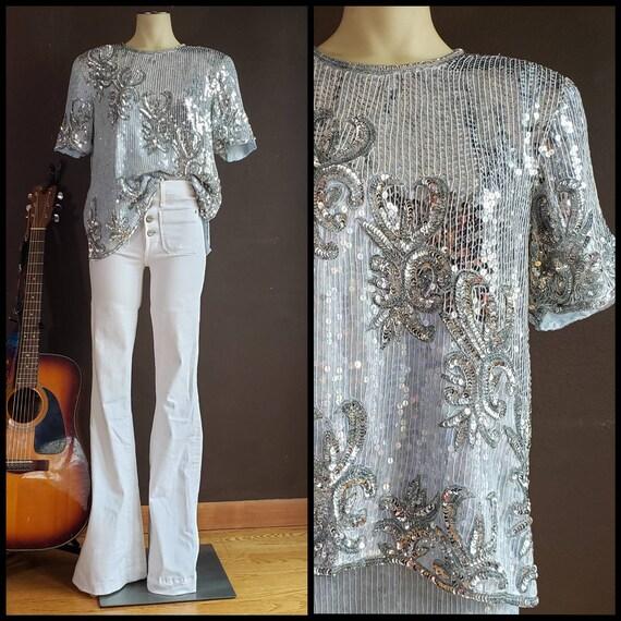 Vintage Womens Sequin Matching Skirt Set