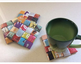 Drink Coasters, Housewarming gift, Rectangle Coasters, Home, Office Gift, Welcome Gift, Colourful, paper art, Upcycled Newspaper coasters