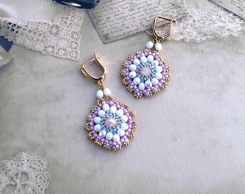 Kristall Perlen Kronleuchter ~ Kronleuchter kristall perlen ohrringe geflochtene weißen etsy