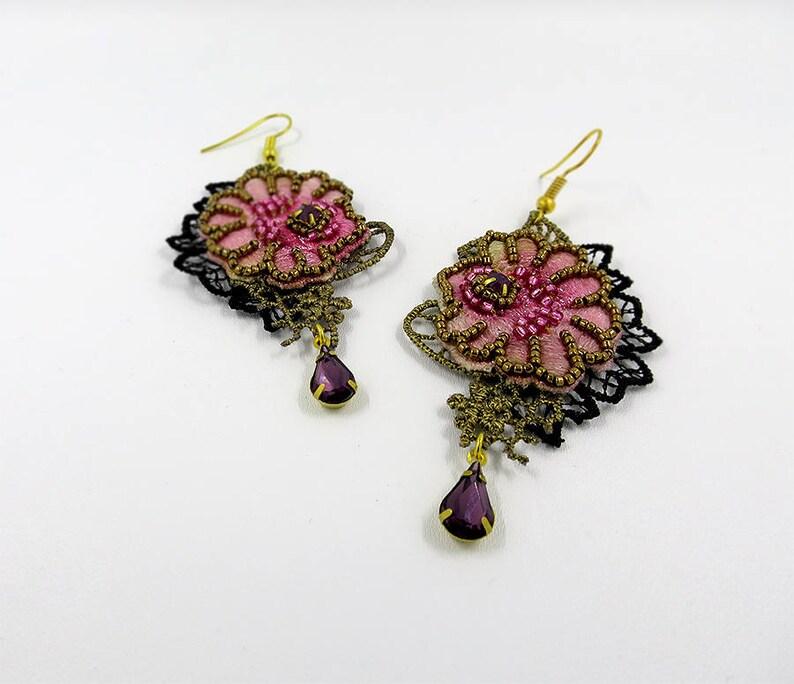Bead embroidery lace earrings Baroque Marie Antoinette style earrigs Flower beading crystal chandelier earrings Beaded jewelry