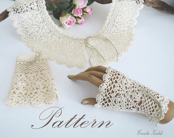 Pattern Crochet Lace Collar Bracelet Cuff Tutorial Pdf Etsy