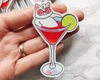 Cosmopurrlitan PREMIUM Vinyl Stickers - Cosmo Waterproof Sticker - Cocktail - Cat Cute Sticker - Weatherproof Sticker - Laptop Sticker