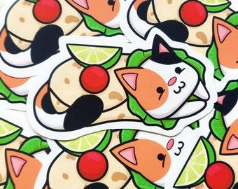 Purrito Sticker - Funny Pun Sticker - Burrito Vinyl Sticker - Calico - Cute Cat Sticker - Animal Sticker - Macbook Sticker - Laptop Stickers