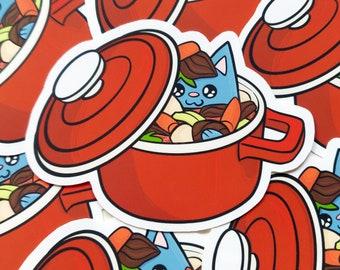 Catserole Sticker - Funny Pun Sticker - Food Vinyl Sticker - Russian Blue - Cute Cat Sticker - Animal Sticker - Macbook Sticker - Laptop