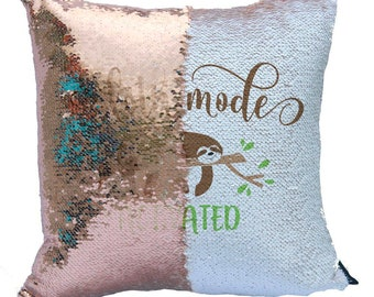 8a7cf0ca338 Reversible sequin pillow cover - Sloth mode activated - 16x16inch pillow  cover - mermaid sequins - cute sloth pillow cover