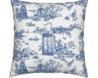 Doctor Who Daleks with Tardis - light twill toile fabric - doctor who - daleks - tardis - pillow cover - machine washable