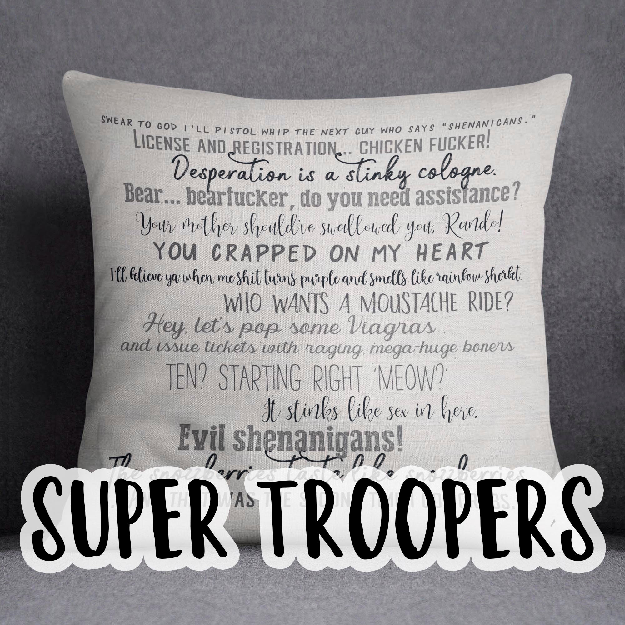 Movie quote pillow cover - Super Troopers - 18x18inch pillow cover - movie  quotes - movie room decor