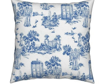 Doctor Who Weeping Angels - Pillow Cover toile Pattern Police Box COVER ONLY 16inchx16inch