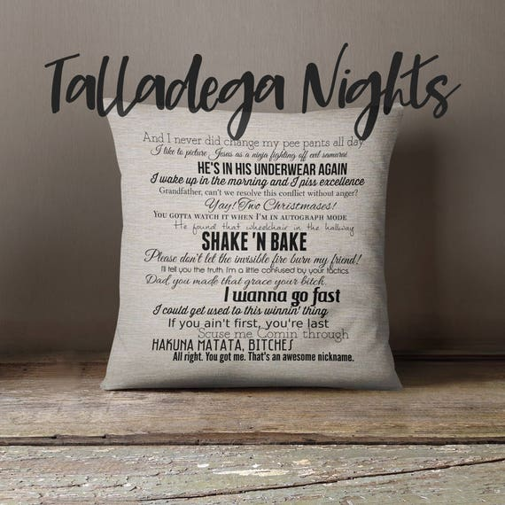 Talladega Nights: The Ballad of Ricky Bobby movie quote pillow cover  18x18inch - fiber arts - movie quotes - washable pillow cover