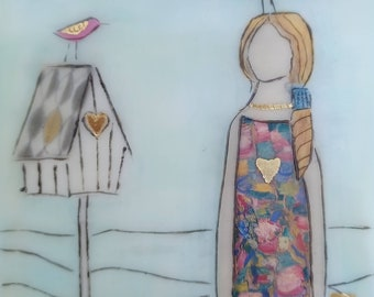 Bird House. Home is where the heart is. Original encaustic mixed media painting