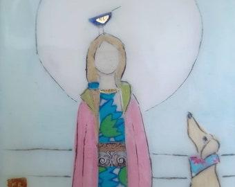Moon dog. Original encaustic mixed media painting