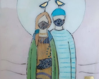 Love and friendship art. Cotton face masks.  Mixed media encaustic art.