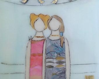 friendship. Sisters art Mixed media encaustic art.
