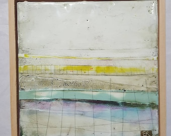 Encaustic painting abstract landscape. Irish landscape. Ireland painting