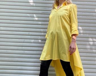 "Yellow Casual Tunic / Oversize Cotton Tunic Top / Loose Summer Shirt / Long Sleeve Asymmetrical Blouse - ""Asymmetric Couture"""