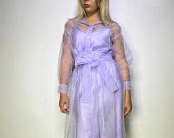 "Lavender Elegant Evening Dress / Women Long Sleeved Midi Dress / Satin Organza Sexy Party Dress - ""In My Secret Life"""