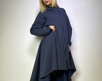 Women Asymmetrical Dark Blue Loose Jacket / Extravagant Sweater Coat / Casual Daywear Cape Coat with pockets / Hooded Top