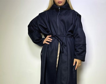 """Women Hooded Cape Coat / Navy Blue Winter Cape Coat / Oversized Extravagant Coat / Long Sleeves Cape / Loose Vest - """"By The Rivers Dark"""""""