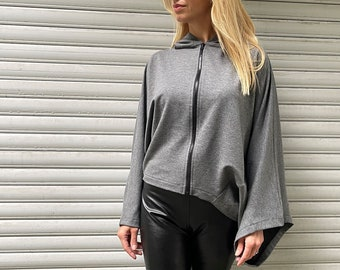 Sweater Top / Oversize Hooded Sweatshirt with Pocket / Women Long Sleeved Top / Loose Blouse
